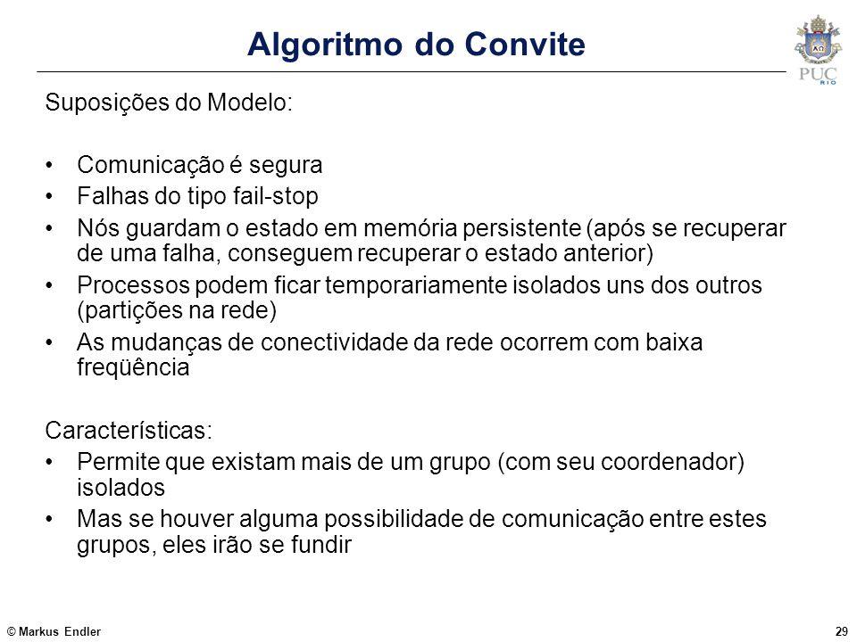 Algoritmo do Convite Suposições do Modelo: Comunicação é segura