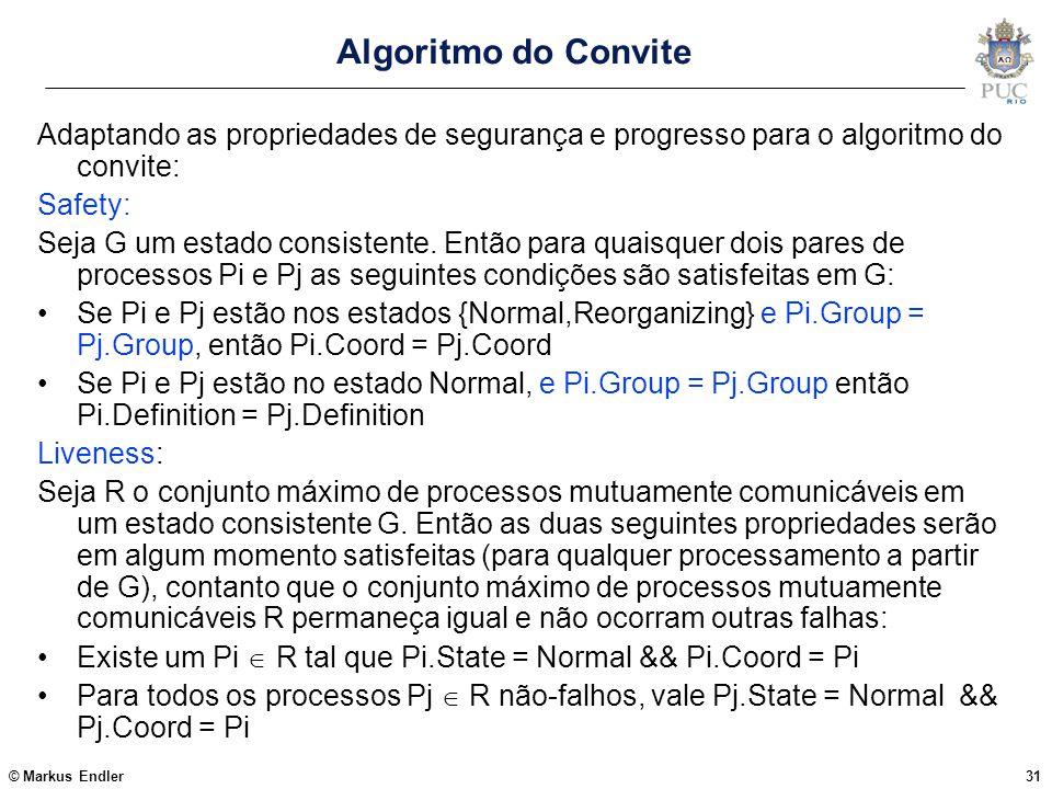 Algoritmo do Convite Adaptando as propriedades de segurança e progresso para o algoritmo do convite: