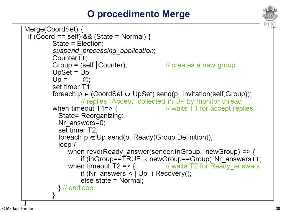 O procedimento Merge Merge(CoordSet) {
