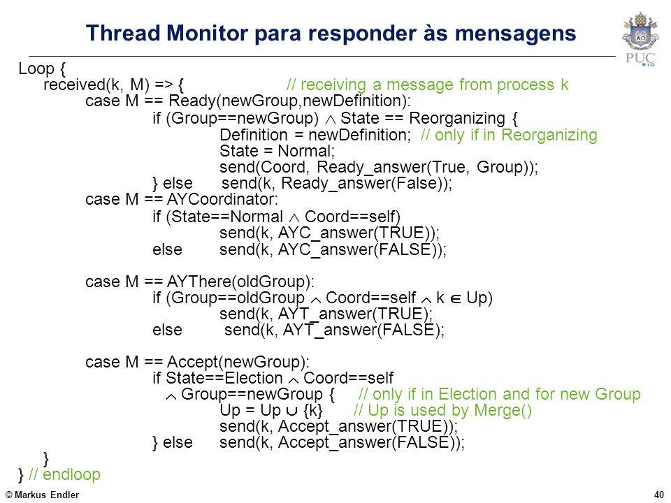 Thread Monitor para responder às mensagens