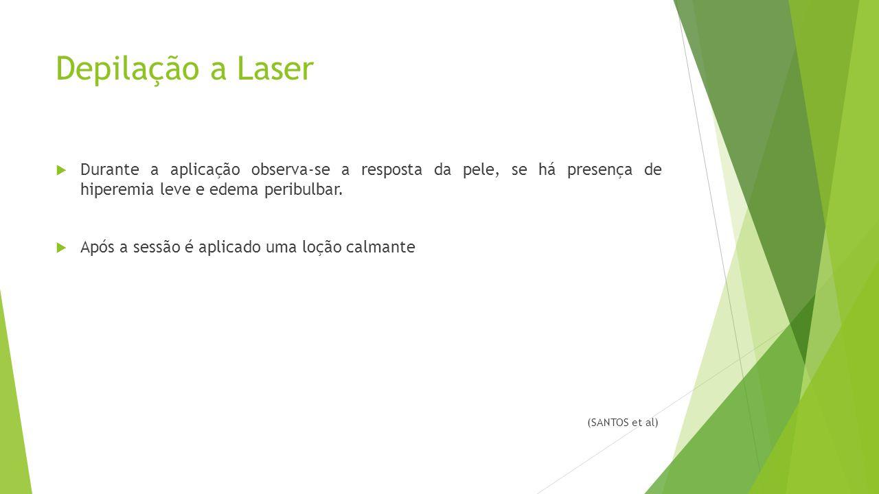 Depilação a Laser Durante a aplicação observa-se a resposta da pele, se há presença de hiperemia leve e edema peribulbar.