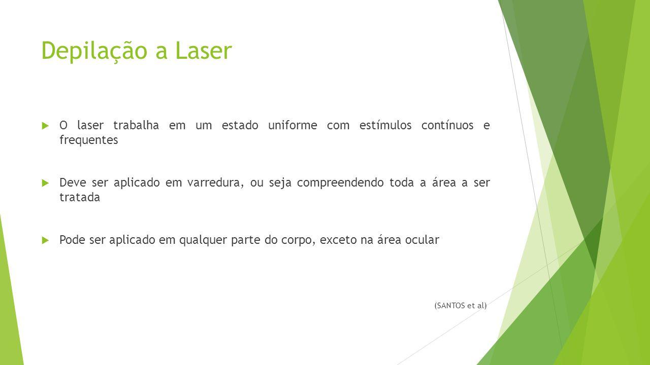 Depilação a Laser O laser trabalha em um estado uniforme com estímulos contínuos e frequentes.