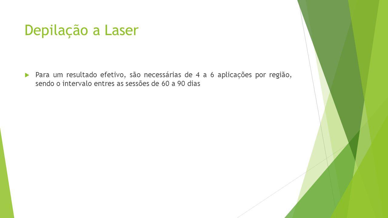 Depilação a Laser Para um resultado efetivo, são necessárias de 4 a 6 aplicações por região, sendo o intervalo entres as sessões de 60 a 90 dias.