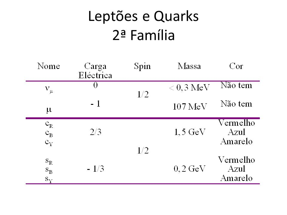 Leptões e Quarks 2ª Família