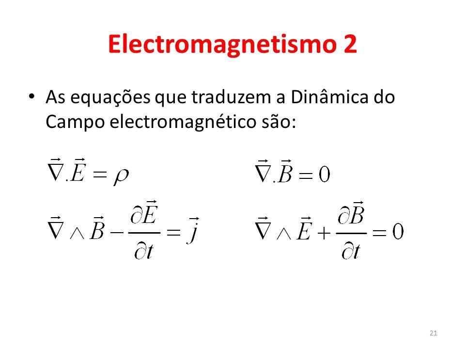 Electromagnetismo 2 As equações que traduzem a Dinâmica do Campo electromagnético são: