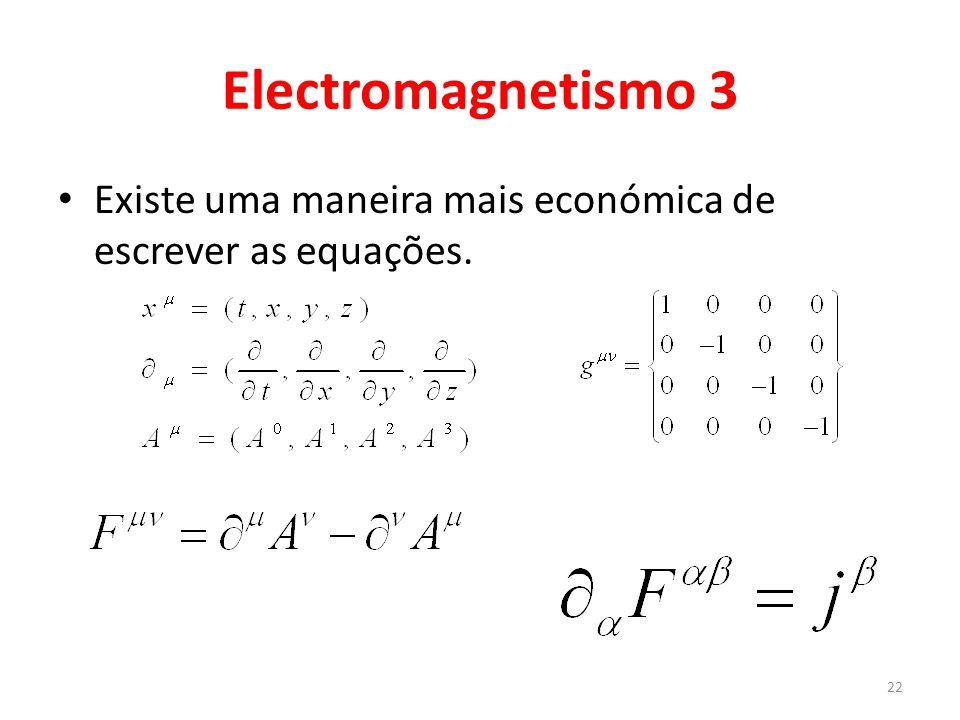 Electromagnetismo 3 Existe uma maneira mais económica de escrever as equações.