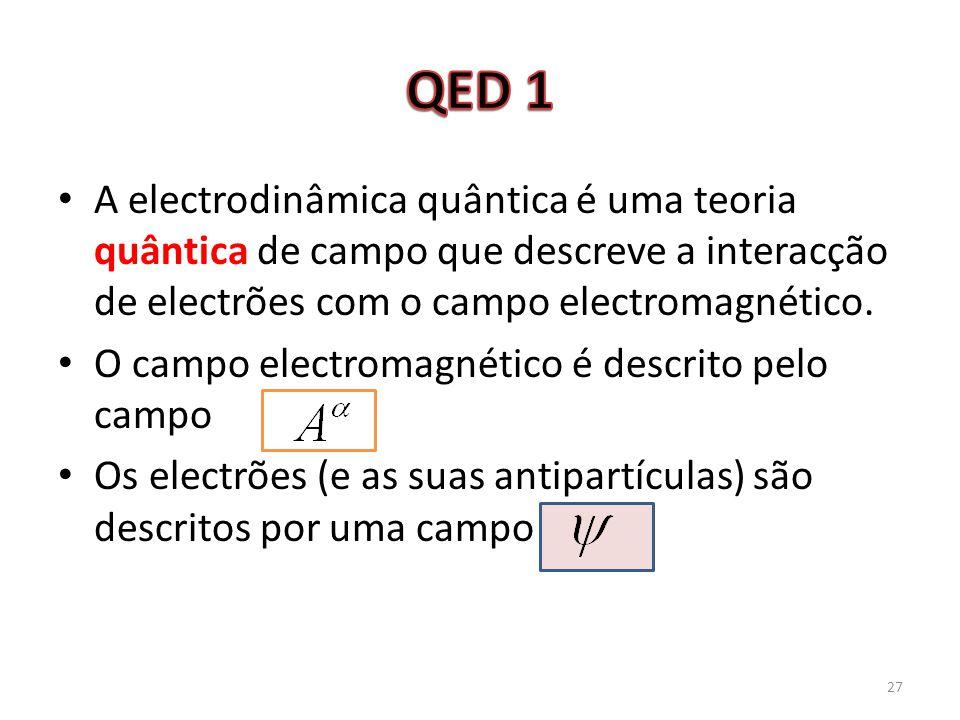 QED 1 A electrodinâmica quântica é uma teoria quântica de campo que descreve a interacção de electrões com o campo electromagnético.