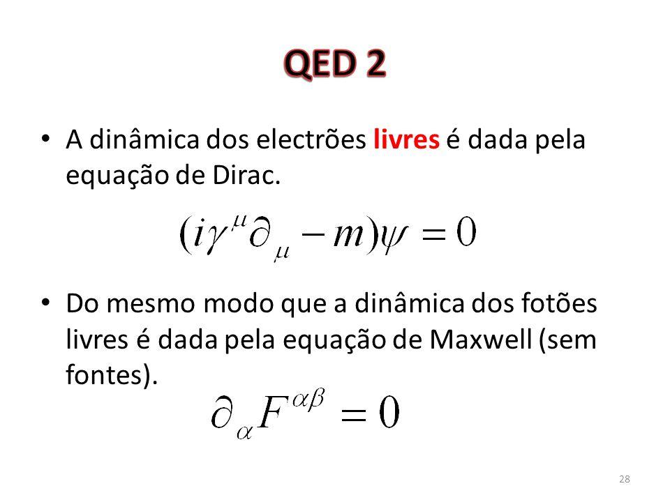 QED 2 A dinâmica dos electrões livres é dada pela equação de Dirac.