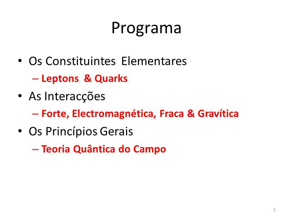 Programa Os Constituintes Elementares As Interacções