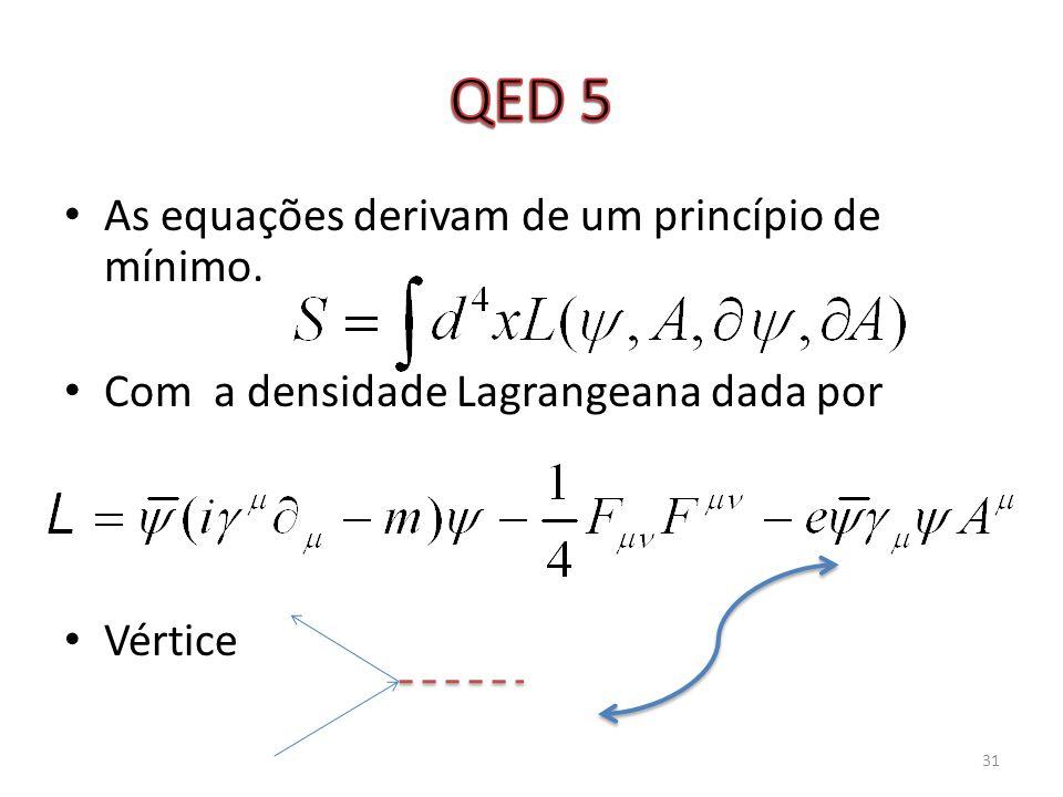 QED 5 As equações derivam de um princípio de mínimo.