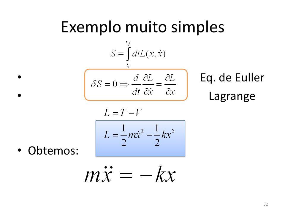 Exemplo muito simples Eq. de Euller Lagrange Obtemos:
