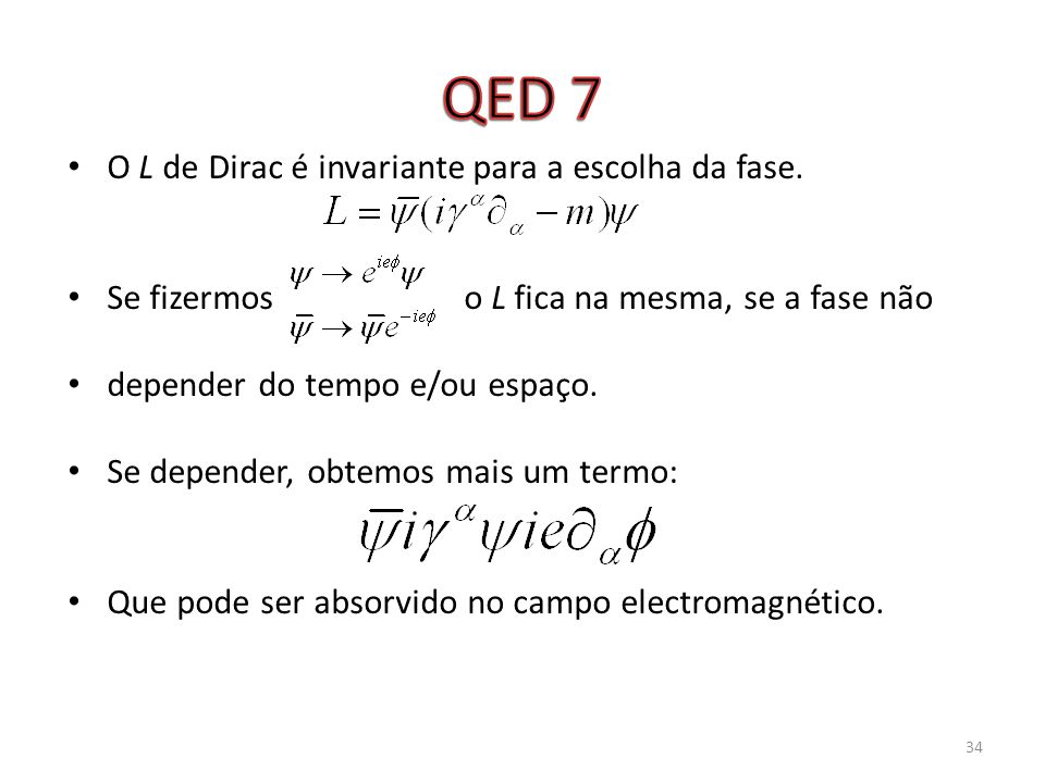 QED 7 O L de Dirac é invariante para a escolha da fase.