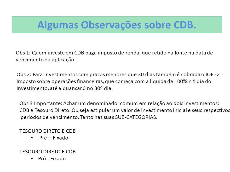 Algumas Observações sobre CDB.