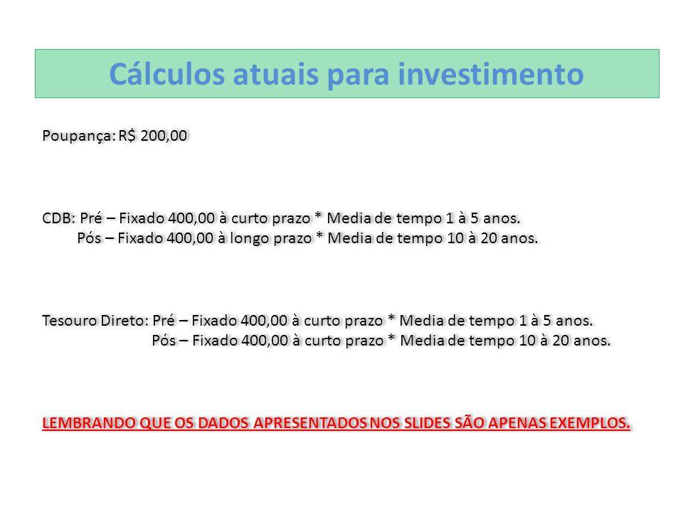 Cálculos atuais para investimento