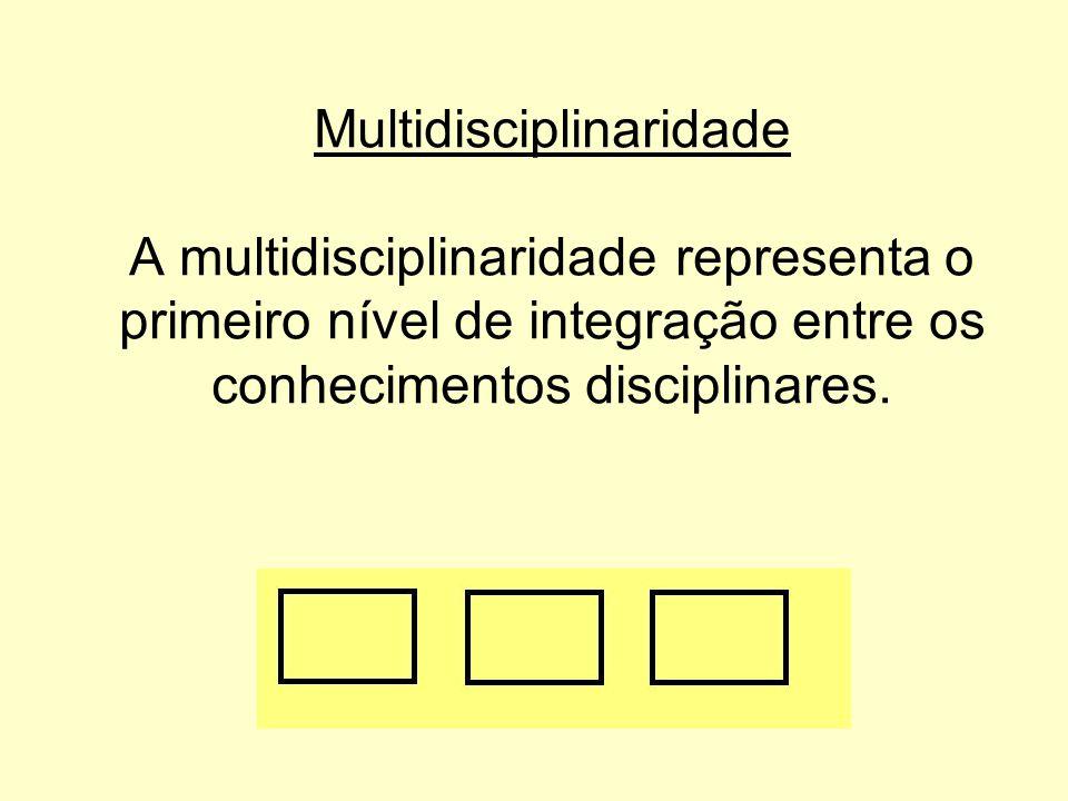 Multidisciplinaridade A multidisciplinaridade representa o primeiro nível de integração entre os conhecimentos disciplinares.