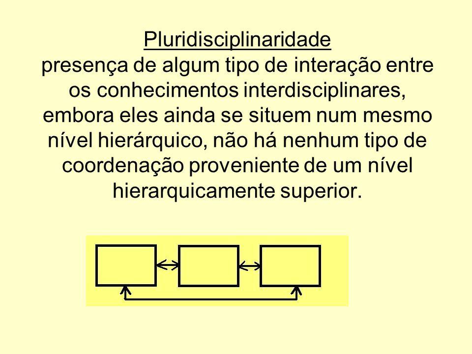 Pluridisciplinaridade presença de algum tipo de interação entre os conhecimentos interdisciplinares, embora eles ainda se situem num mesmo nível hierárquico, não há nenhum tipo de coordenação proveniente de um nível hierarquicamente superior.