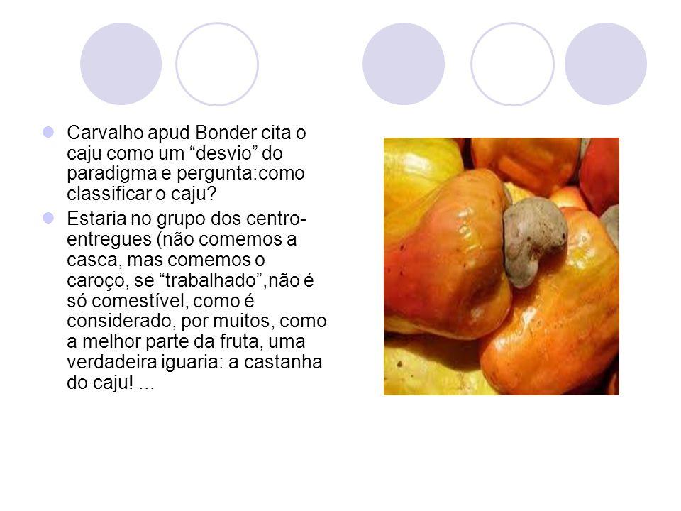 Carvalho apud Bonder cita o caju como um desvio do paradigma e pergunta:como classificar o caju