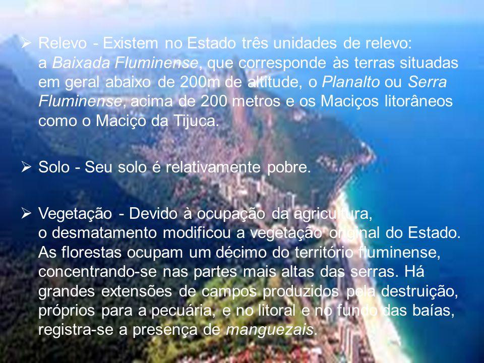 Relevo - Existem no Estado três unidades de relevo: a Baixada Fluminense, que corresponde às terras situadas em geral abaixo de 200m de altitude, o Planalto ou Serra Fluminense, acima de 200 metros e os Maciços litorâneos como o Maciço da Tijuca.