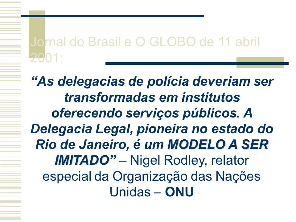 Jornal do Brasil e O GLOBO de 11 abril 2001: