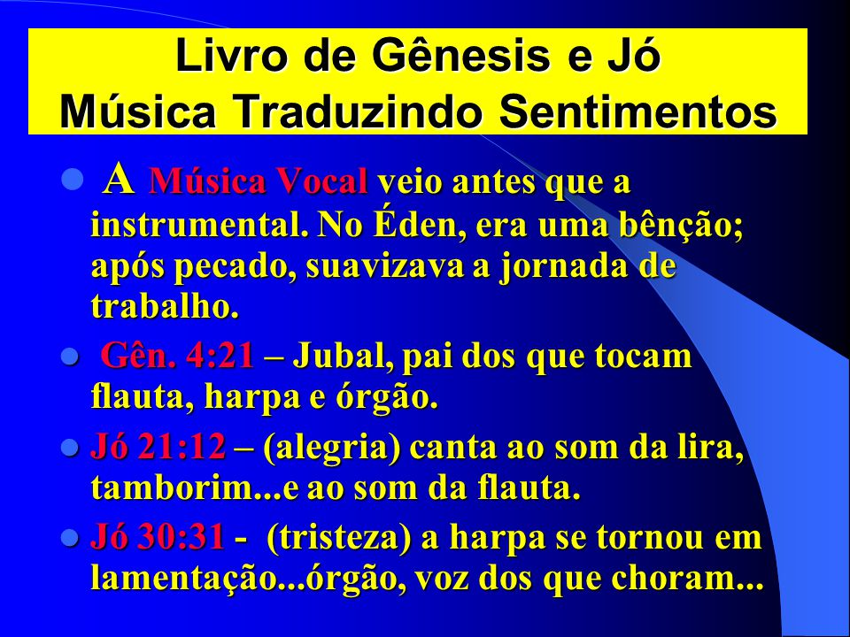Livro de Gênesis e Jó Música Traduzindo Sentimentos