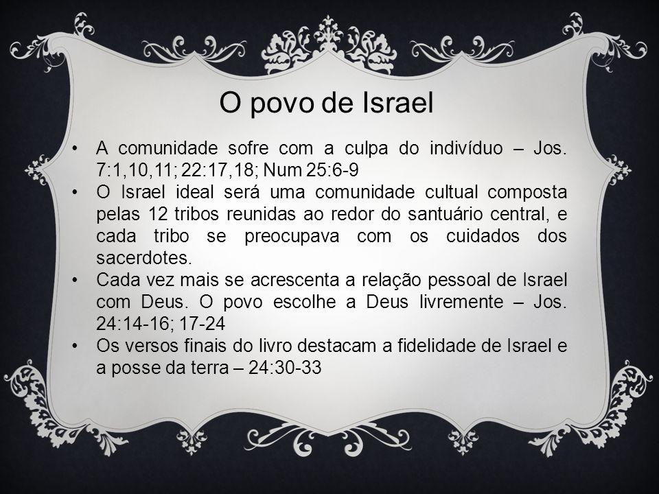 O povo de Israel A comunidade sofre com a culpa do indivíduo – Jos. 7:1,10,11; 22:17,18; Num 25:6-9.