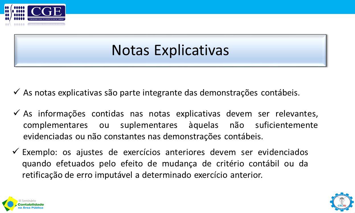 Notas Explicativas As notas explicativas são parte integrante das demonstrações contábeis.