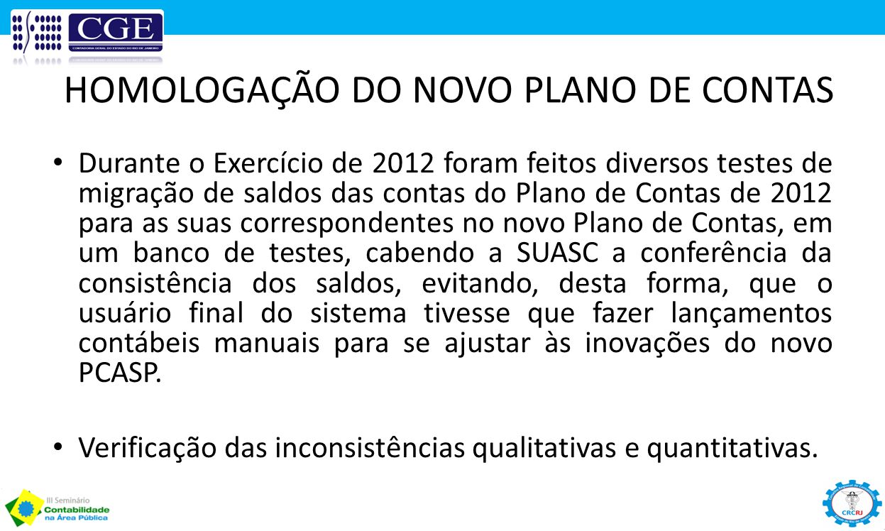 HOMOLOGAÇÃO DO NOVO PLANO DE CONTAS