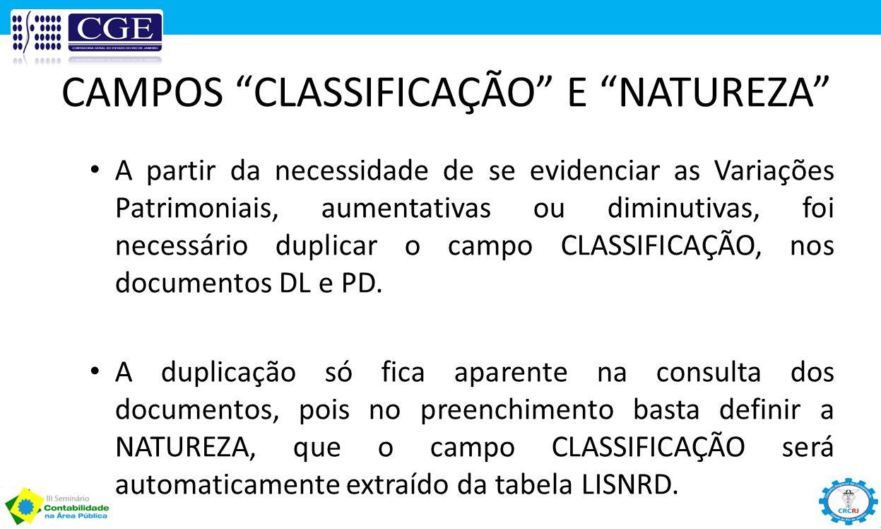 CAMPOS CLASSIFICAÇÃO E NATUREZA