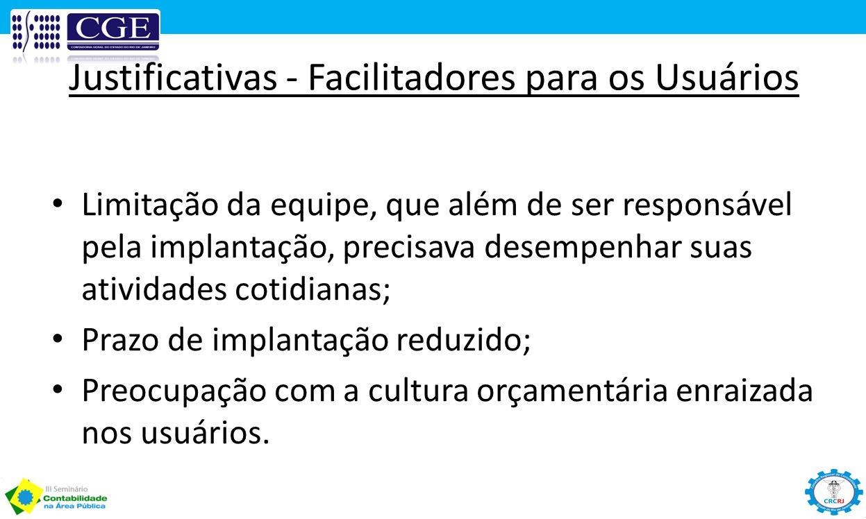 Justificativas - Facilitadores para os Usuários