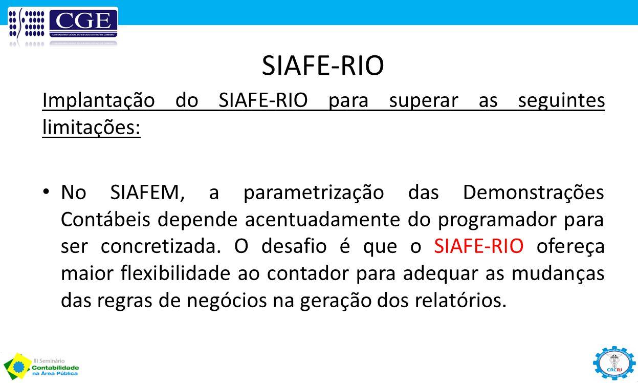 SIAFE-RIO Implantação do SIAFE-RIO para superar as seguintes limitações: