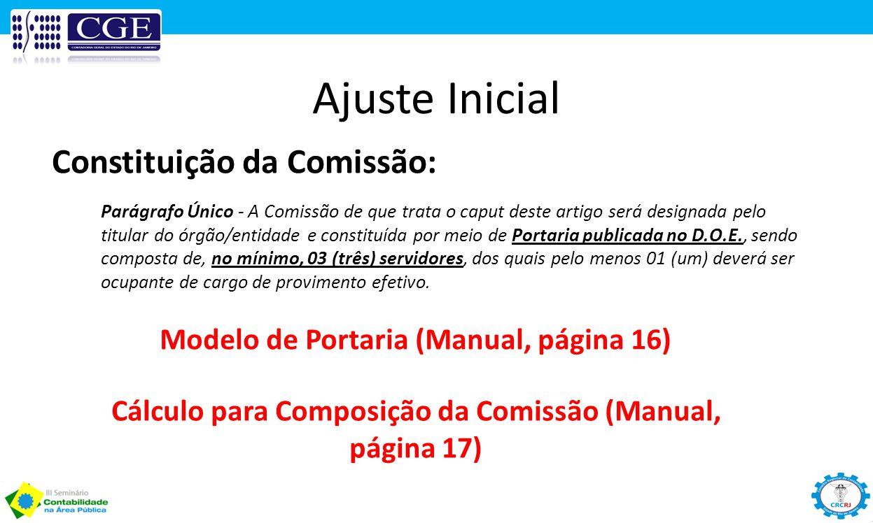 Ajuste Inicial Constituição da Comissão: