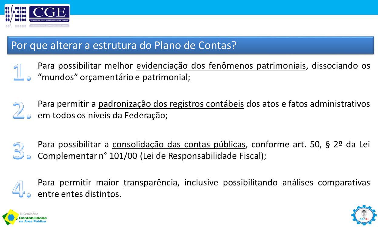 1. 2. 3. 4. Por que alterar a estrutura do Plano de Contas