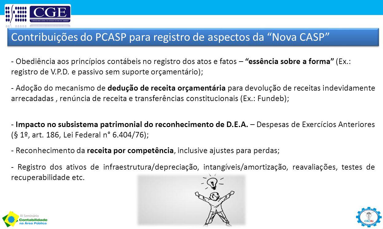 Contribuições do PCASP para registro de aspectos da Nova CASP