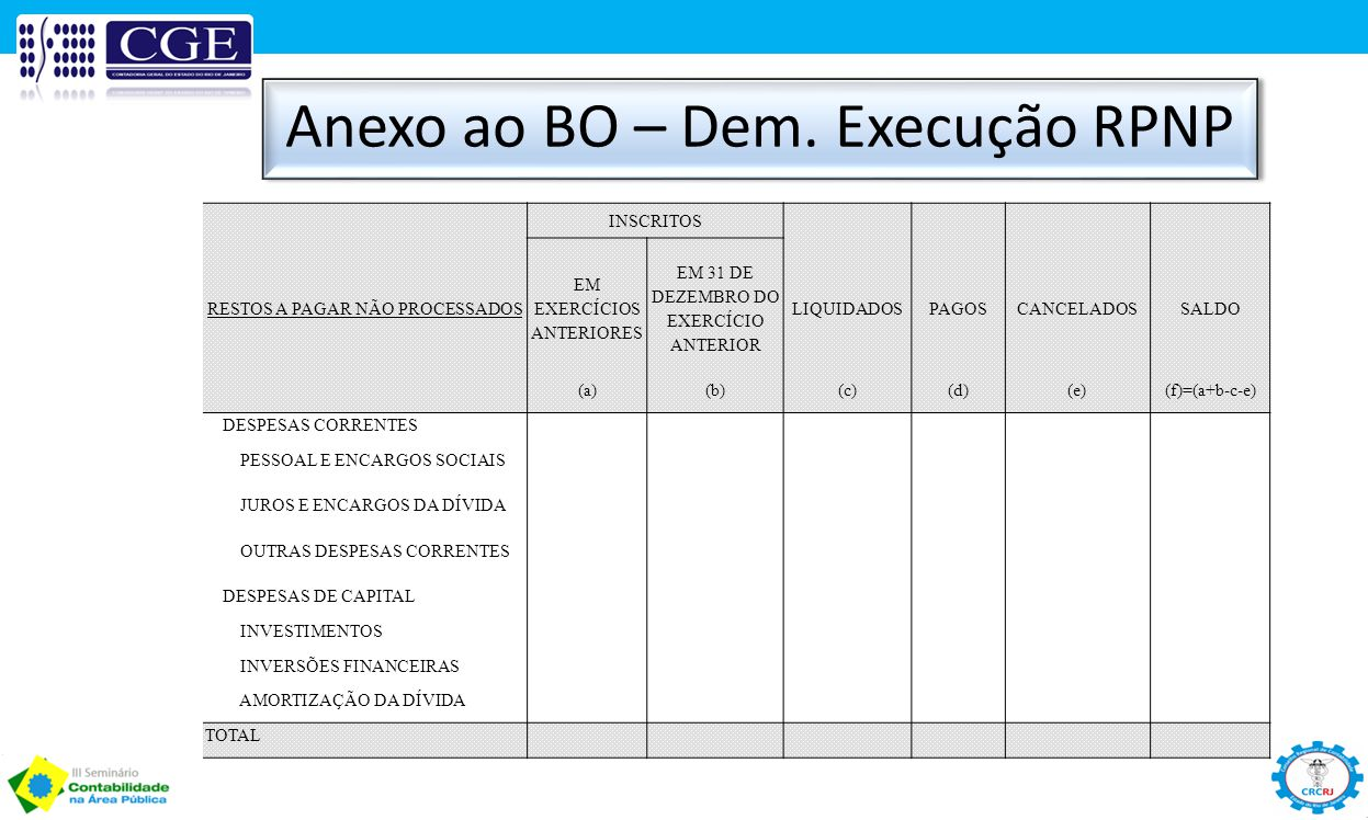 Anexo ao BO – Dem. Execução RPNP
