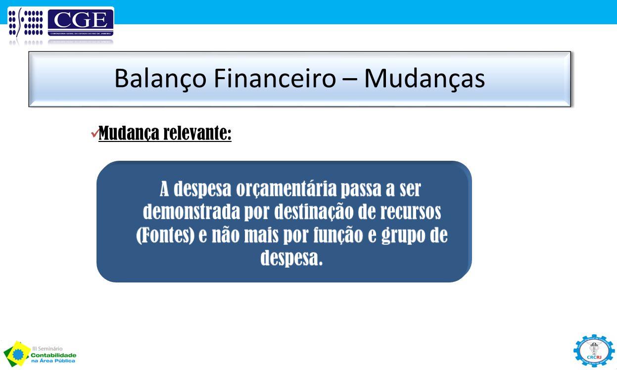 Balanço Financeiro – Mudanças