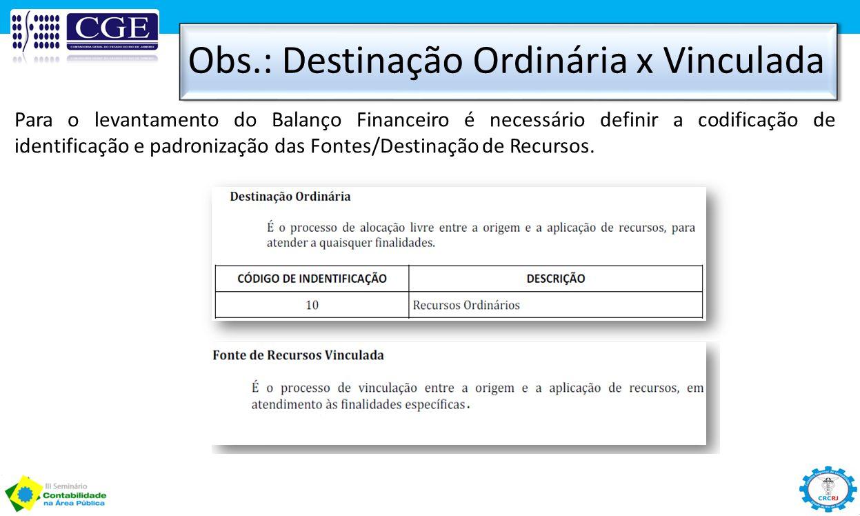 Obs.: Destinação Ordinária x Vinculada