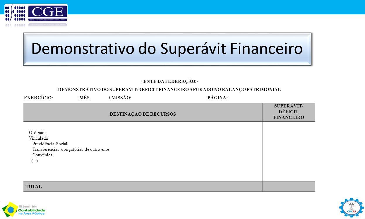 <ENTE DA FEDERAÇÃO> DESTINAÇÃO DE RECURSOS
