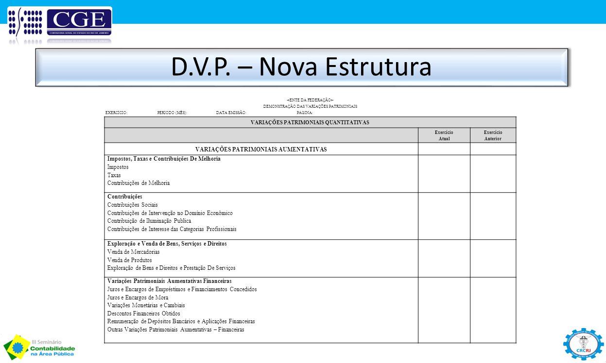 D.V.P. – Nova Estrutura VARIAÇÕES PATRIMONIAIS AUMENTATIVAS