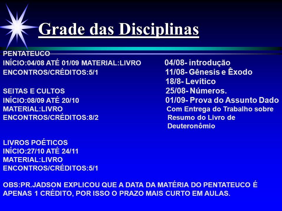 Grade das Disciplinas