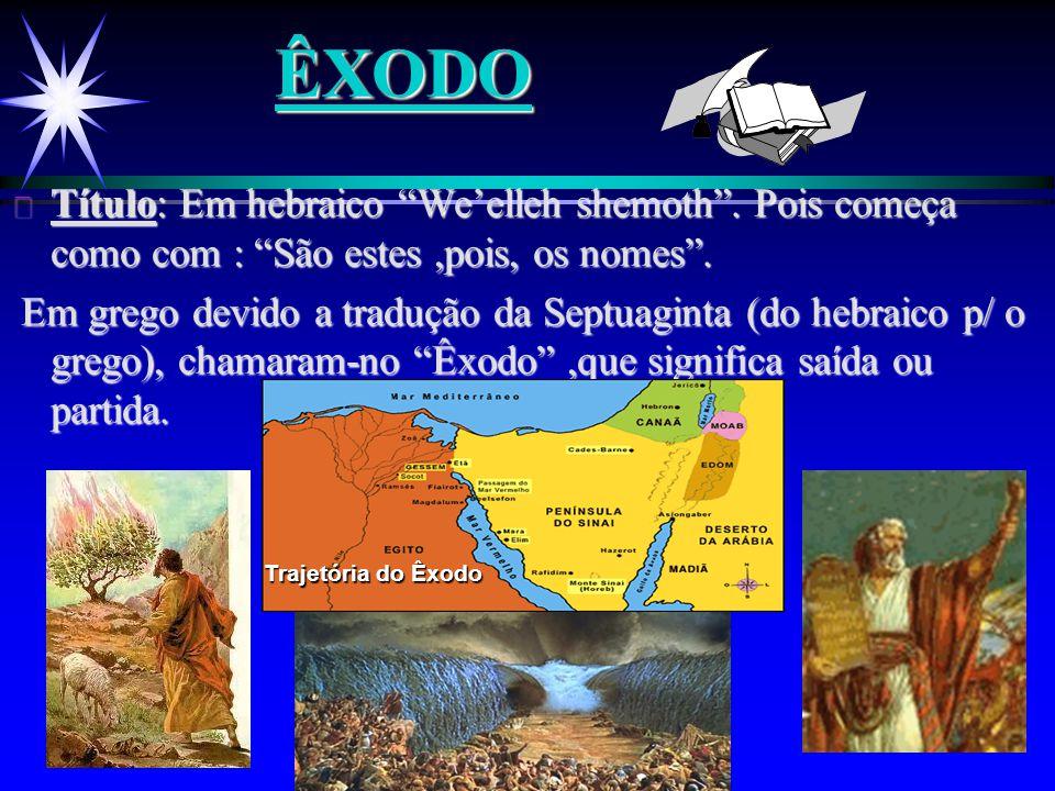 ÊXODO Título: Em hebraico We'elleh shemoth . Pois começa como com : São estes ,pois, os nomes .