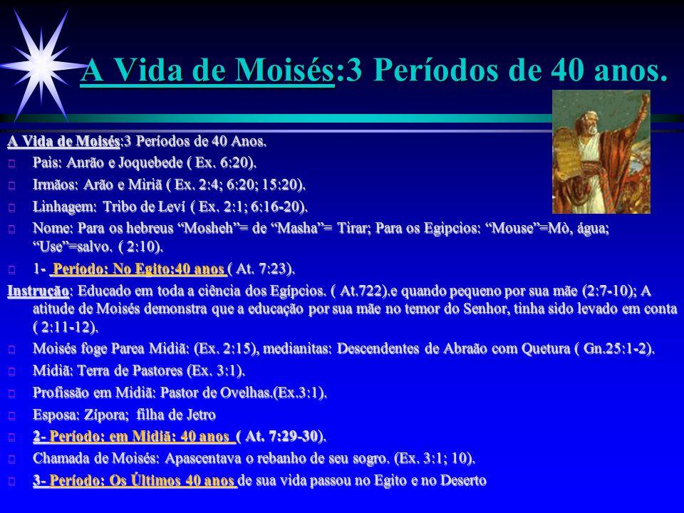 A Vida de Moisés:3 Períodos de 40 anos.