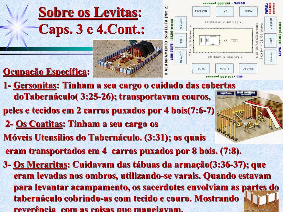 Sobre os Levitas: Caps. 3 e 4.Cont.: