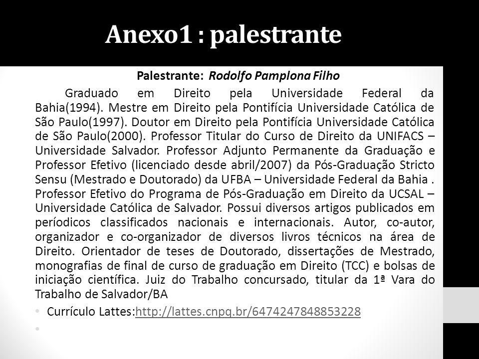 Anexo1 : palestrante Palestrante: Rodolfo Pamplona Filho