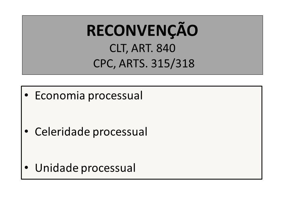 RECONVENÇÃO CLT, ART. 840 CPC, ARTS. 315/318