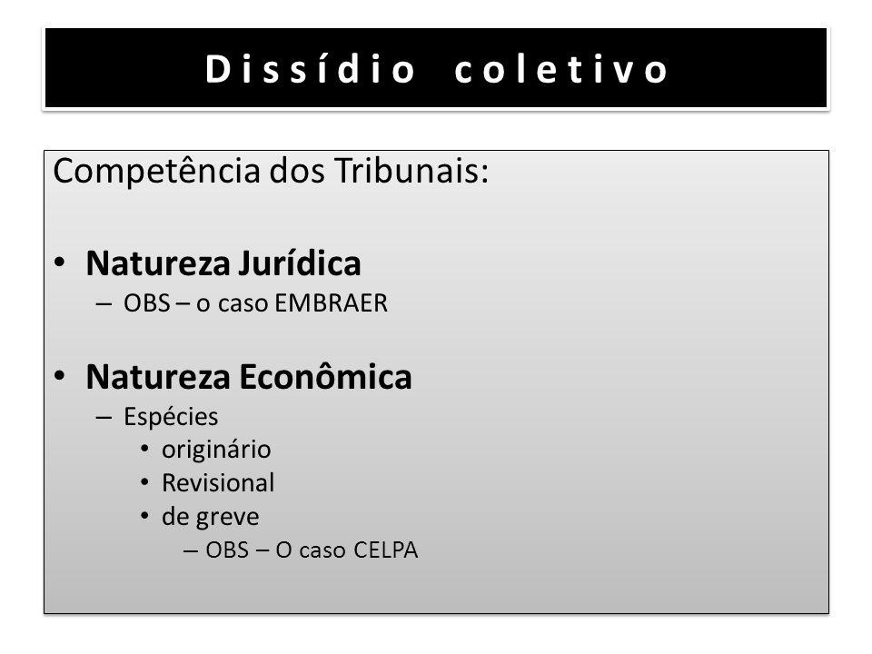 D i s s í d i o c o l e t i v o Competência dos Tribunais: