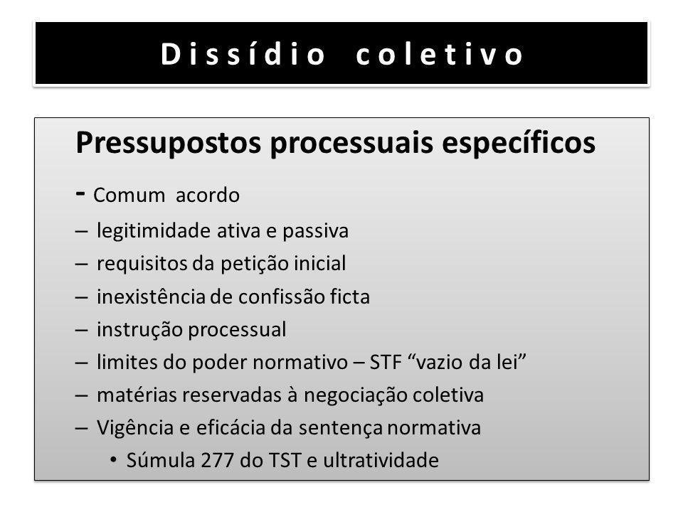 Pressupostos processuais específicos - Comum acordo