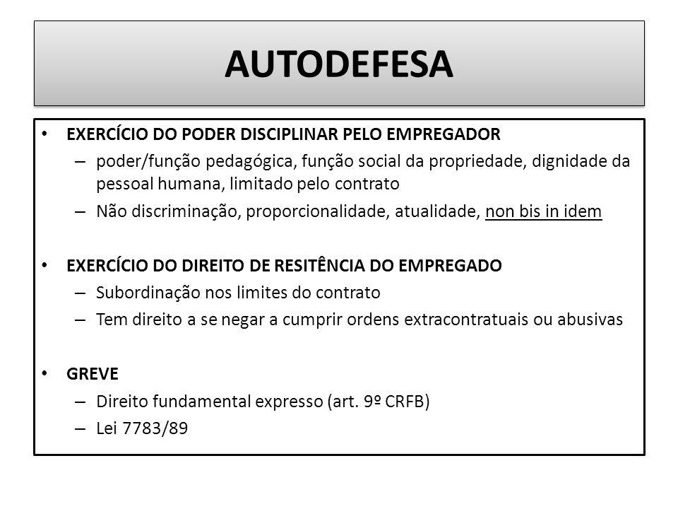 AUTODEFESA EXERCÍCIO DO PODER DISCIPLINAR PELO EMPREGADOR
