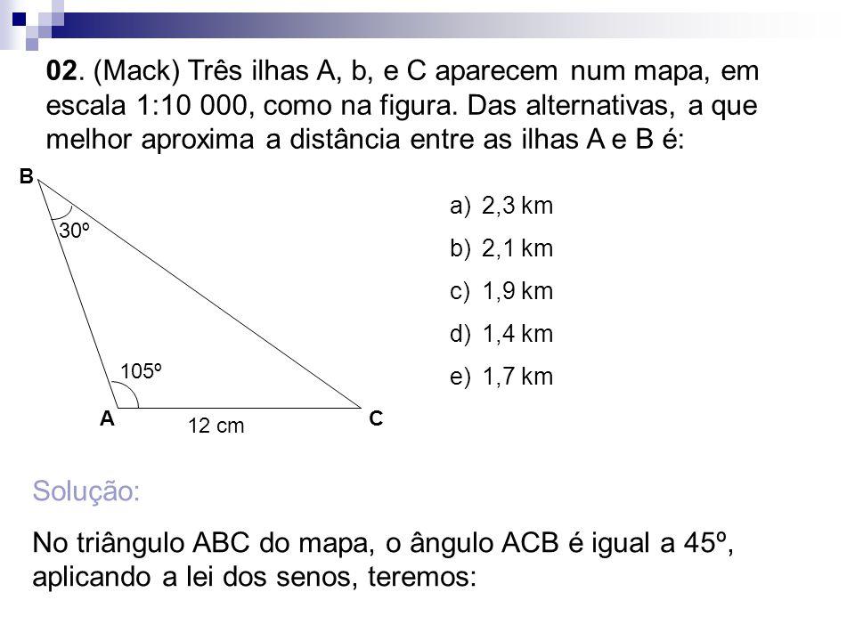 02. (Mack) Três ilhas A, b, e C aparecem num mapa, em escala 1:10 000, como na figura. Das alternativas, a que melhor aproxima a distância entre as ilhas A e B é:
