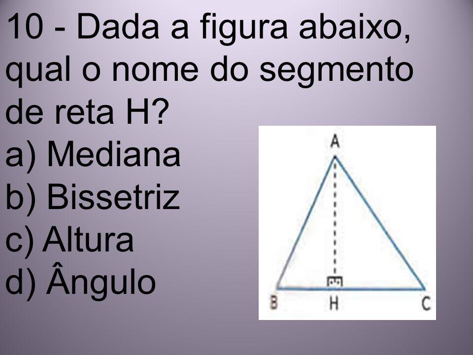 10 - Dada a figura abaixo, qual o nome do segmento de reta H
