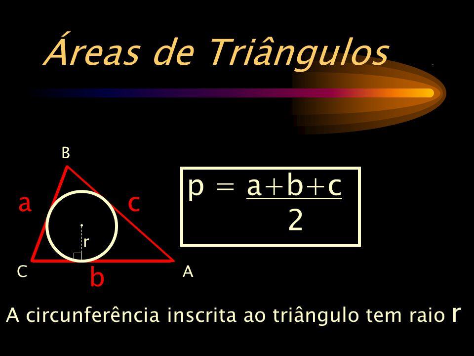 Áreas de Triângulos . p = a+b+c 2 a c b